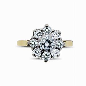 Brilliant Cut Cluster Engagement Ring 0.80ct - H SI